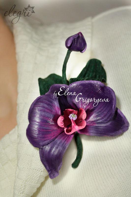 заказать орхидею, цветы своими руками, кожаная флористика