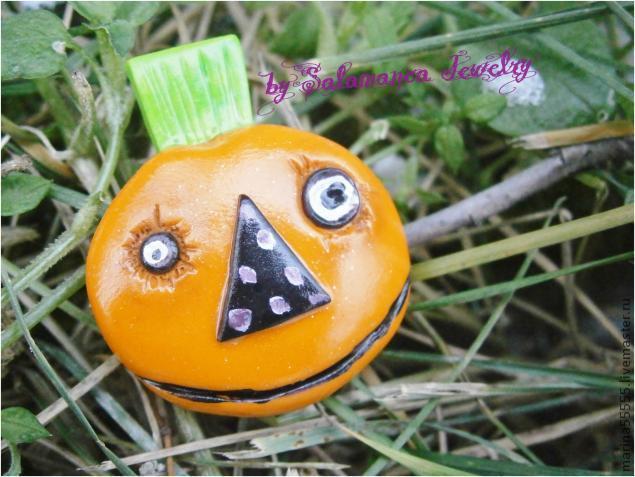тыква на halloween, тыква из полимерной глины, хеллоуин