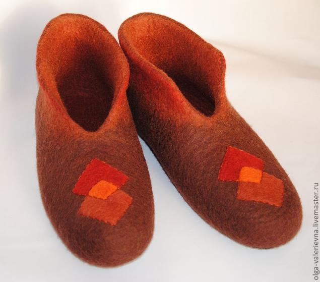 валяние на шаблоне, обувь ручной работы