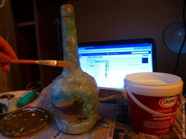 Делаем праздничную бутылочку с двусторонним декупажем, фото № 18