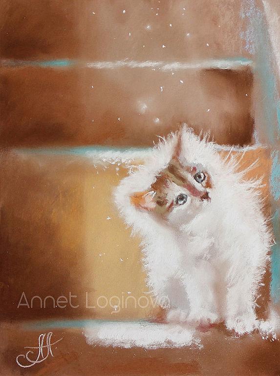 котенок, картины с котами, картины пастелью, пастельная живопись