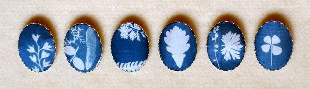 украшения, броши, печать на ткани, цианотипия, природа