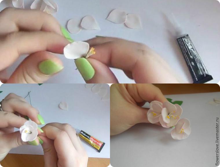 Цветы яблони из фоамирана своими руками с пошаговым фото для начинающих 62