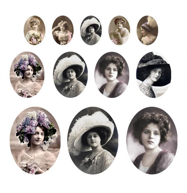 английские леди, винтажные фото, овальные фото, открытка