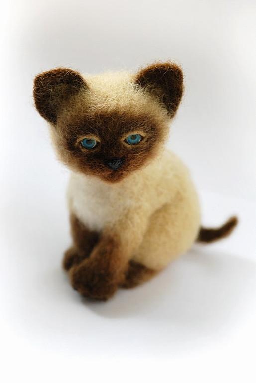 валяние из шерсти, кот, игрушка лиса