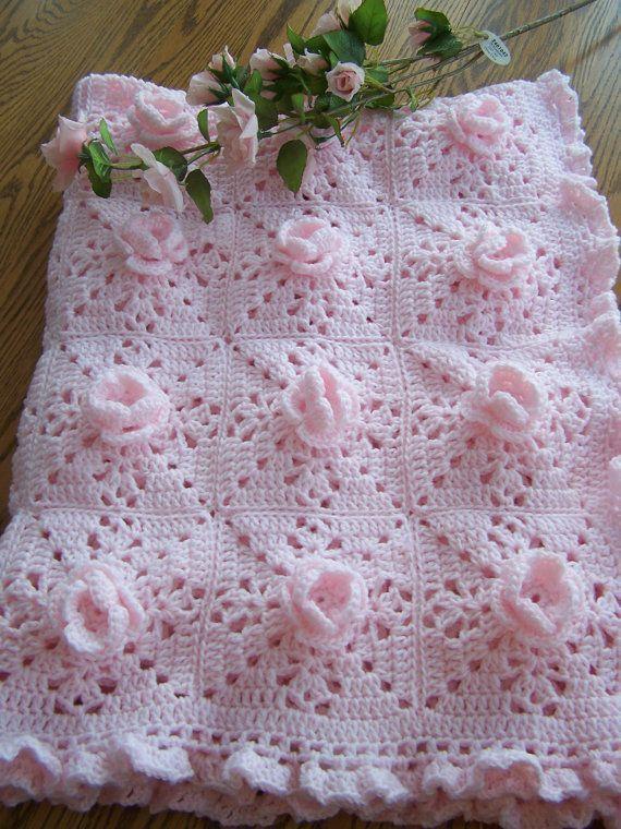 Pink Rose crochet baby afghan