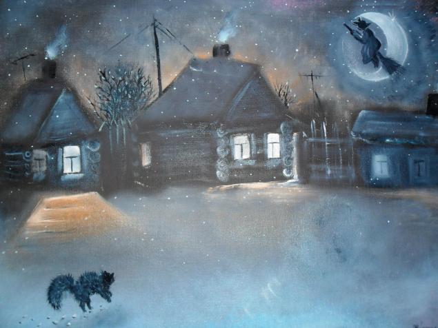 гоголь, деревня, картина, ночь, солоха, дома, таинственно, колдоство