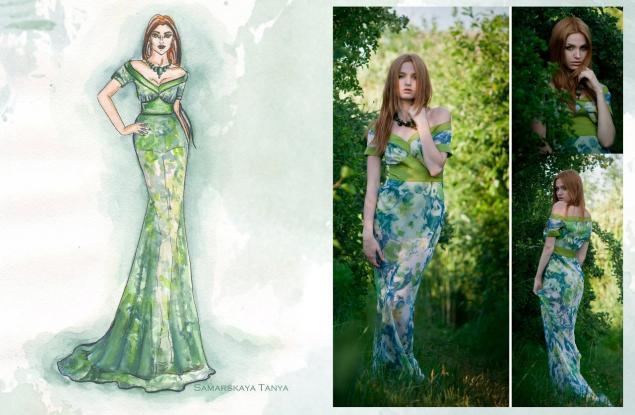 вечернее платье, эскизы одежды