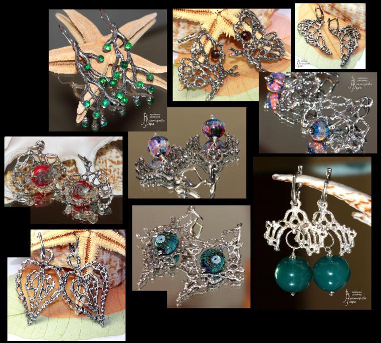 серебряные украшения, серебряные кулоны, кулоны лэмпворк