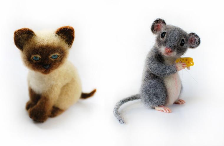 мастер-класс, мастер-класс по валянию, научиться валять, валяные игрушки, игрушки из шерсти, мышка из шерсти, валяный котёнок, котёнок из шерсти, мышка игрушка, кот игрушка, кот, мышонок
