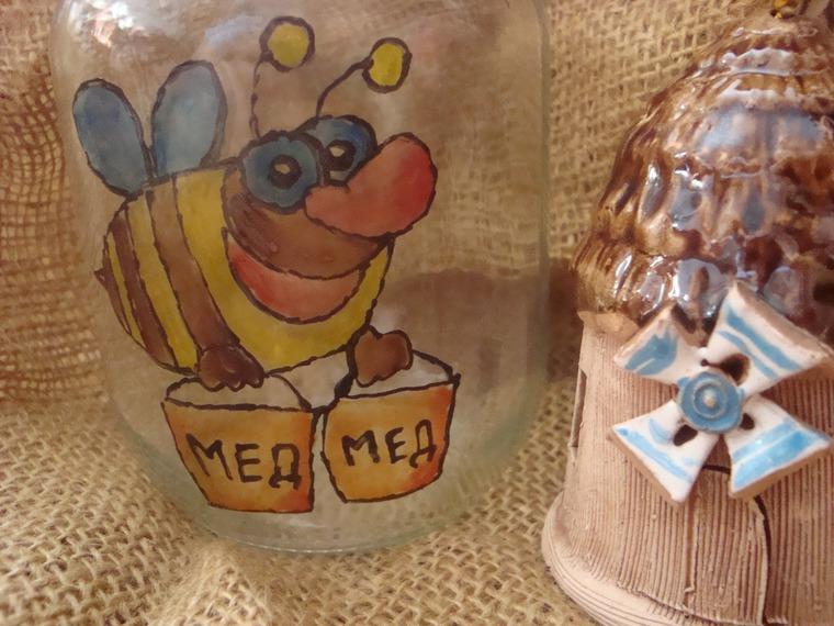 ярмарка хендмейд, стеклянные банки, пчела