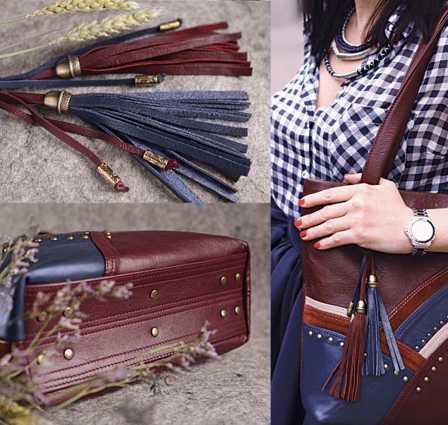 бордовая сумка, сумка с кистями