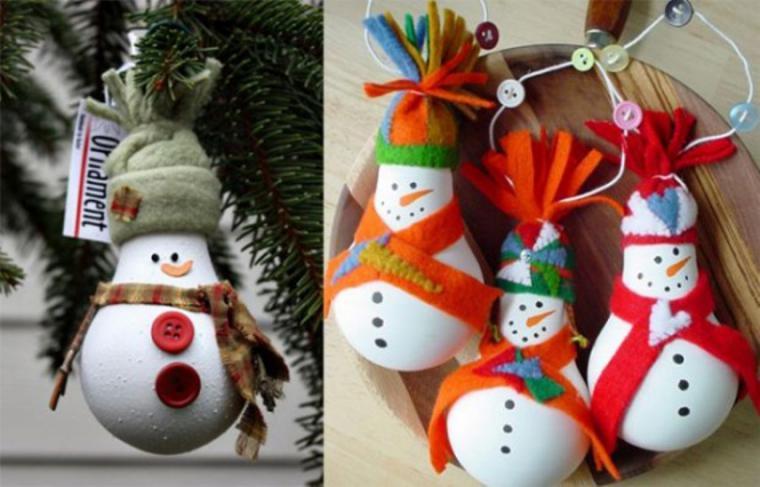 Елочные игрушки из лампочек своими руками снеговик