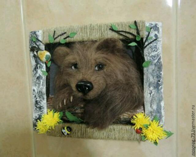 «Пробирается медведь сквозь лесной валежник...». Создаем из шерсти панно «Пробуждение», фото № 29