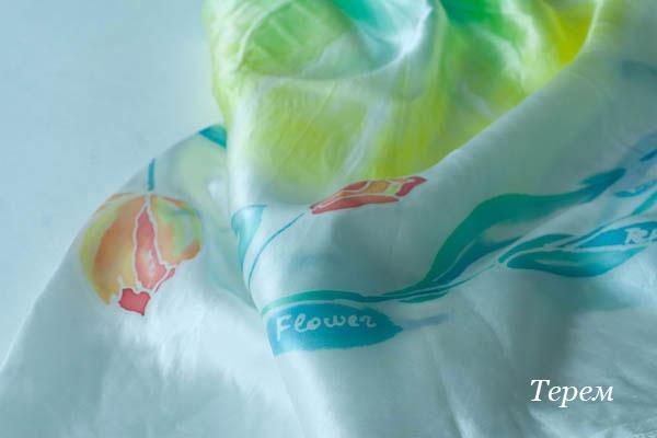 шелковый платок, летний платок, натуральный шелк, ручная роспись, батик платок