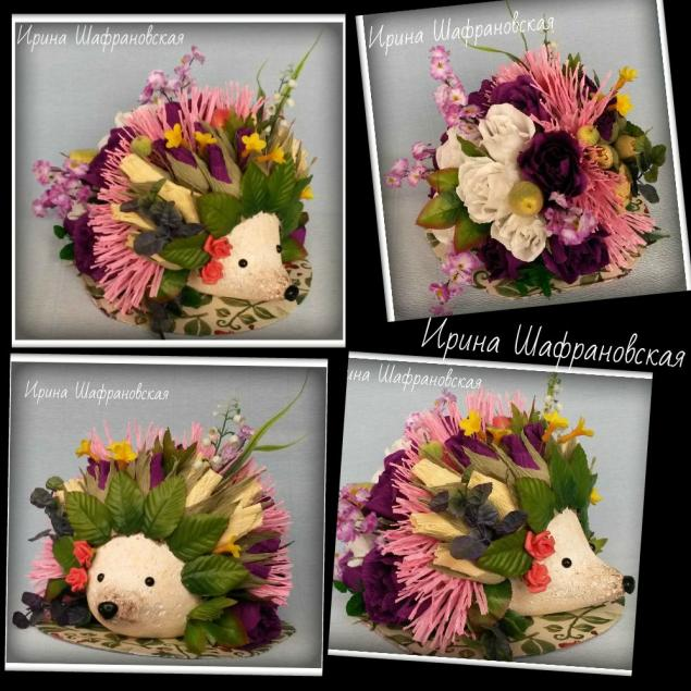 ёжик, цветы