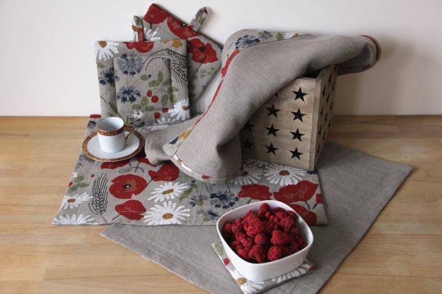 текстиль для кухни, прихватка, полотенце, ромашки, полевые цветы, прибалтийский лен