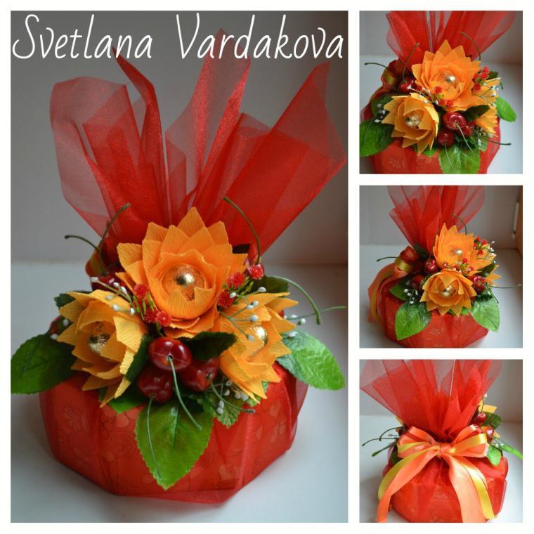 бумага, подарок, цветы ручной работы, мастер-класс по цветам