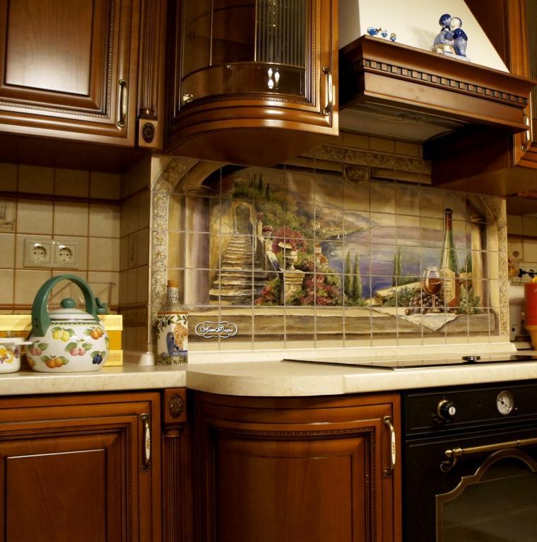 плитка, панно на стену, роспись на фарфоре, кухня прованс