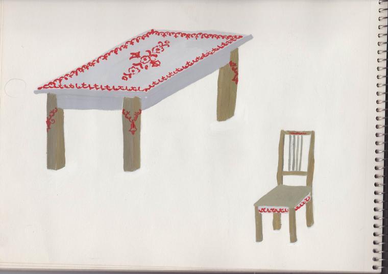 роспись, стол для кухни
