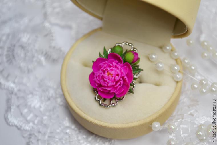 пластика, мастер-класс по лепке, пион, цветы из полимерной глины