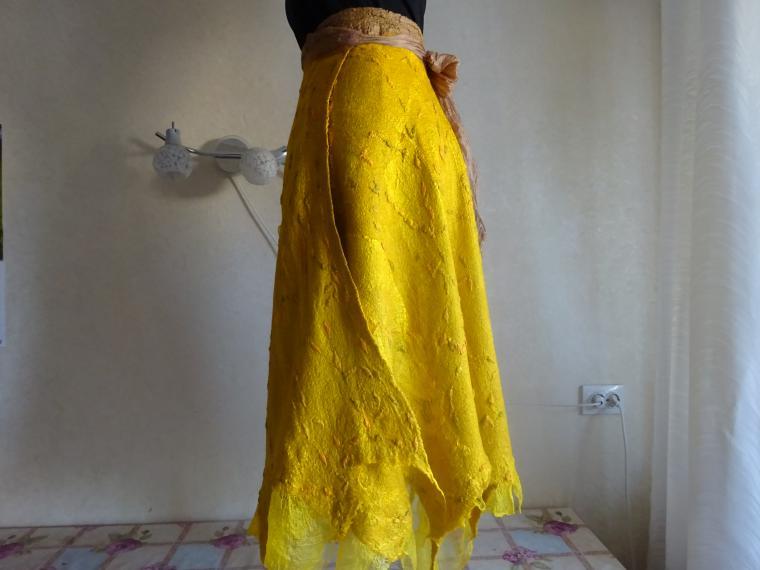 валяная юбка с звпахом, юбка авторская
