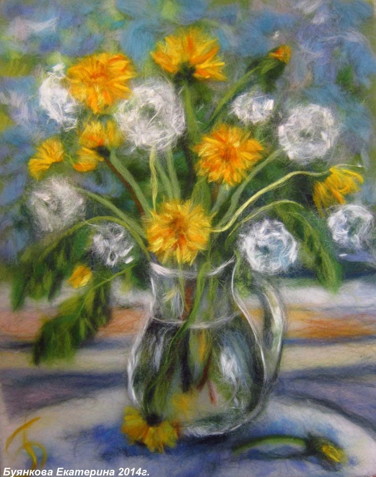 шерстяная акварель, цветы