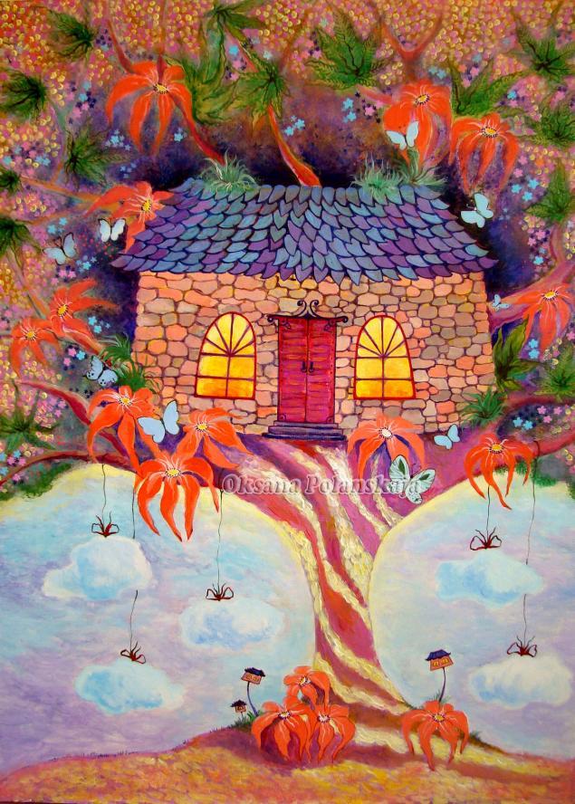 картина для интерьера, дом волшебный, волшебство, сказка