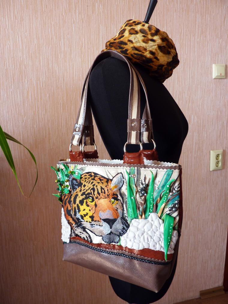 сумка ручной работы, сумка женская, сумка из кожи, сумка с леопардом