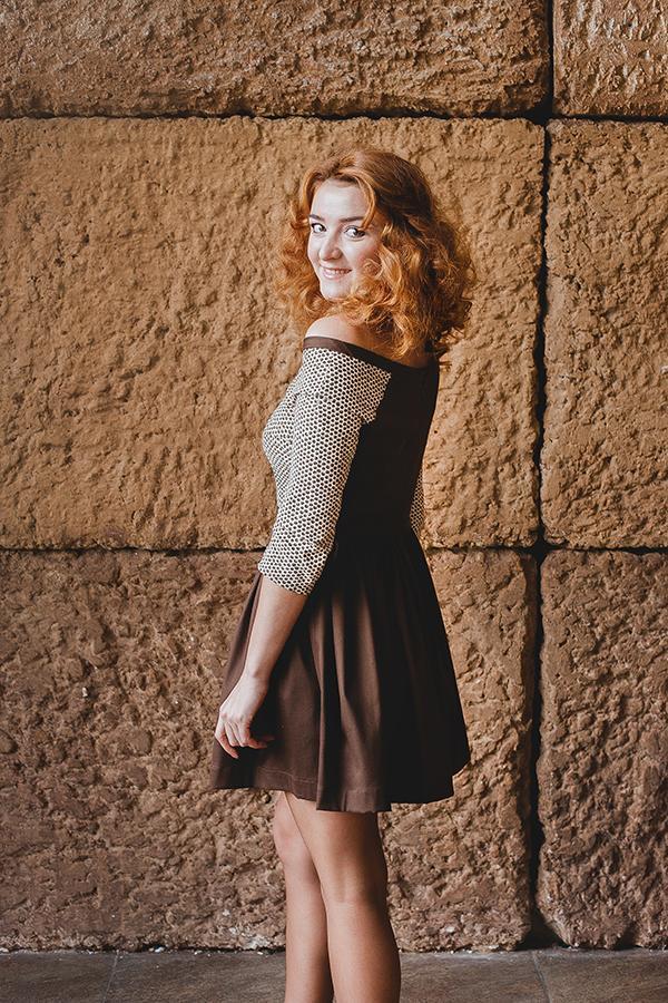 повседневное платье, комбинированное платье, повседневный наряд, натуральная ткань, реглан, коричневый цвет, платье с принтом
