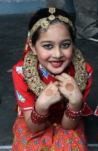 girl in traditional Nepali dress