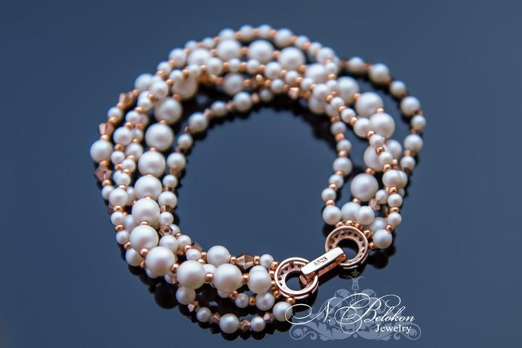 летний браслет, серебряный замочек, украшения ручной работы