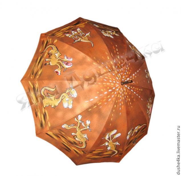 зонтик, ручная роспись, зонт золотой, зонт на заказ
