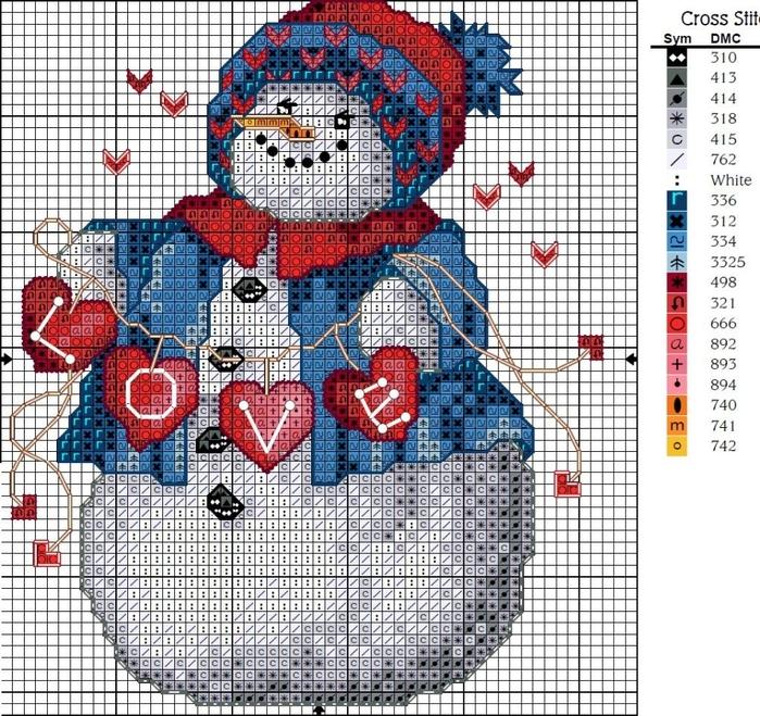 Новогодние схемы вышивок крестиком 86