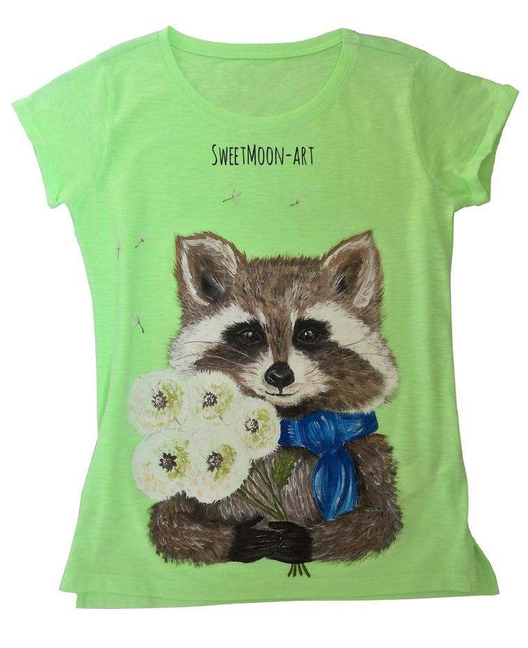 аукцион, футболка с рисунком, еноты, лиса, ручная роспись