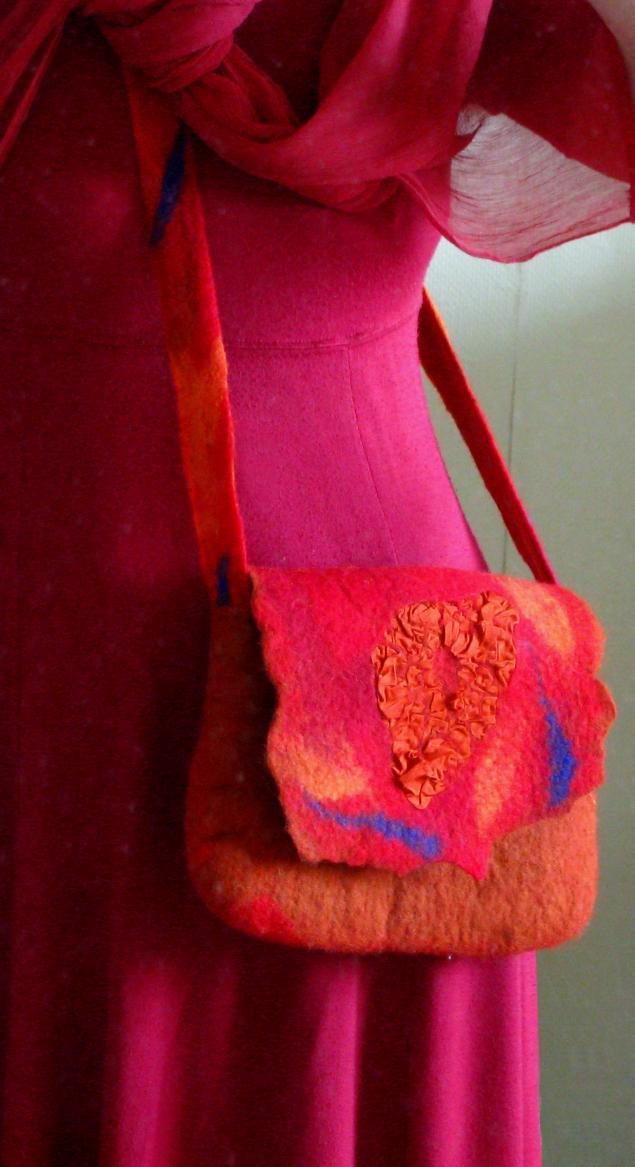 шерсть для валяния, валяние из шерсти, атлас, нунофелтинг, нуно-фелтинг, красный, сумка ручной работы