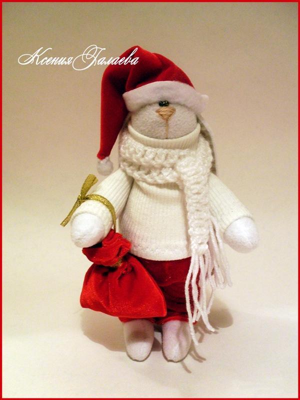 подарок, заяц тильда, новогодние зайцы, красный