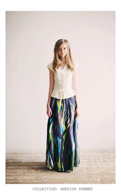 предзаказ, заказ на юбку, длинная юбка, юбка тростник, травяной узор, шелк, хлопок, возможность заказа