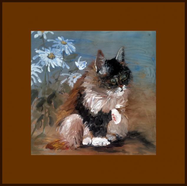 натали котова, рисование, кот, картина, хризантема, обучение живописи