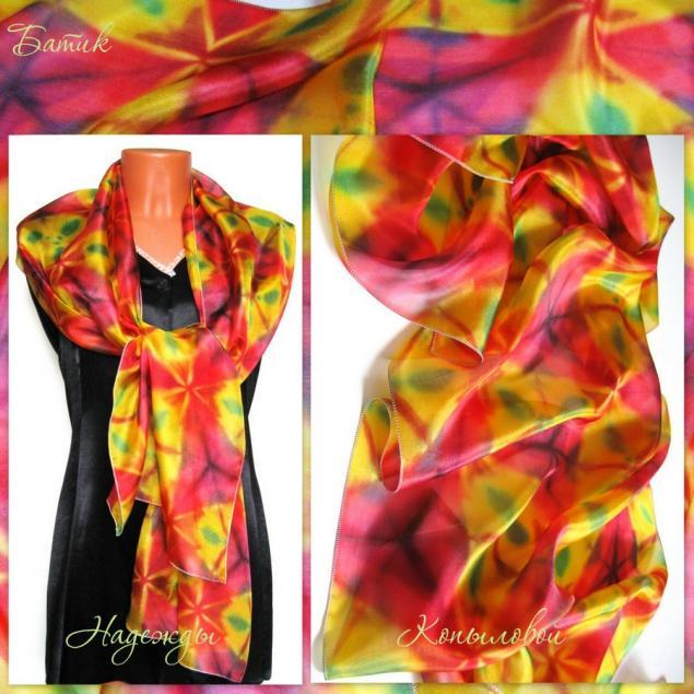 шарф шёлковый, аксессуар шёлковый
