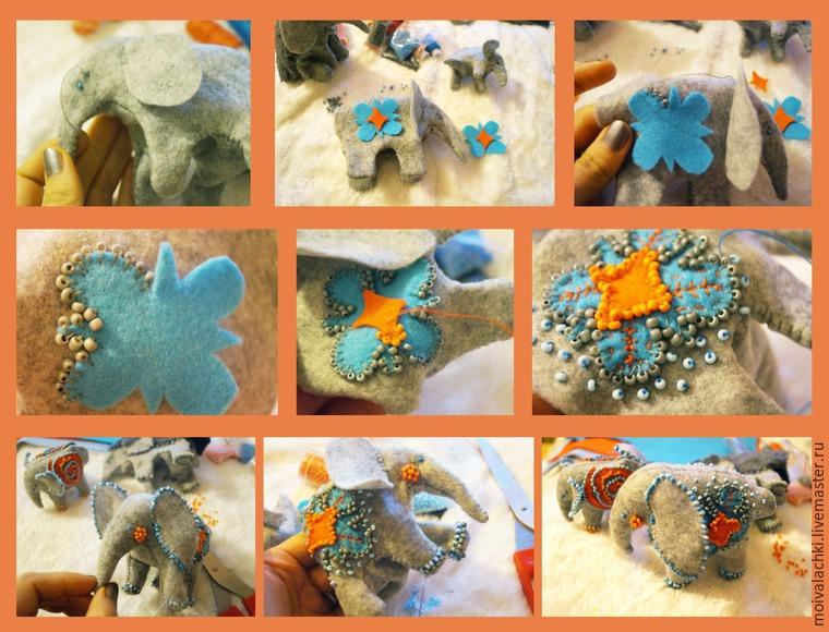 слоны текстильные