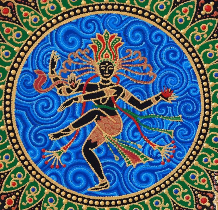 Мастер-класс по точечной росписи: тарелка-панно «танцующий Шива», фото № 23