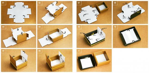 сборка коробочки, коробочка для украшений, коробочка для бижутерии