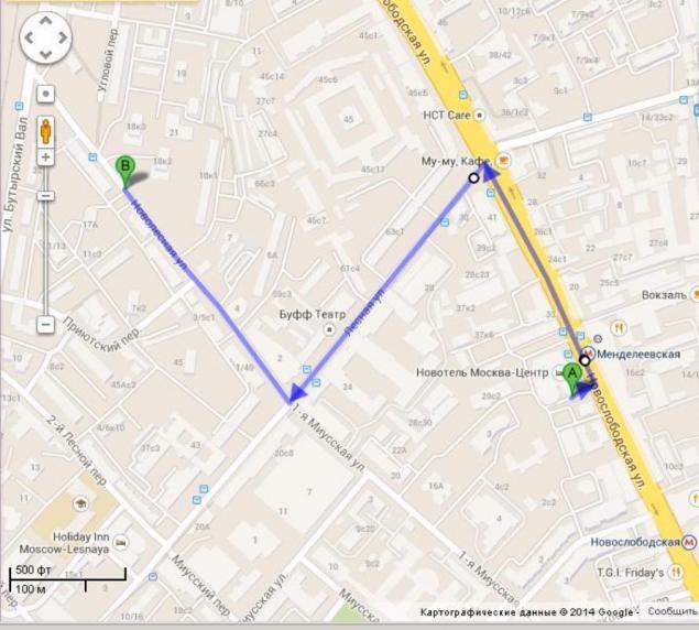 Расстояние между петровкой и сусальным переулком