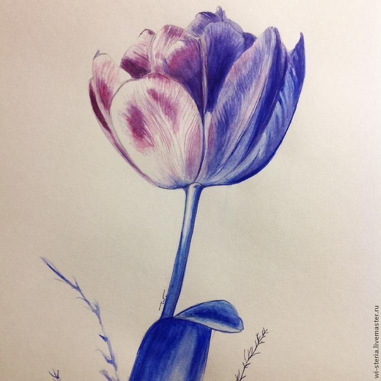 акварель, фиолетовый