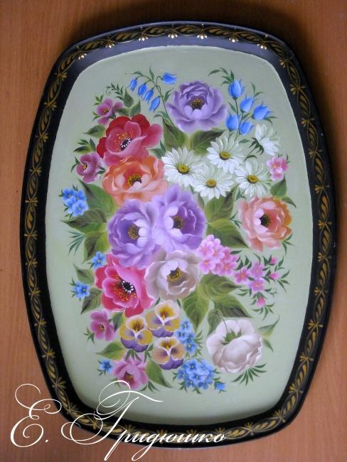кемеровская роспись, розы, маки