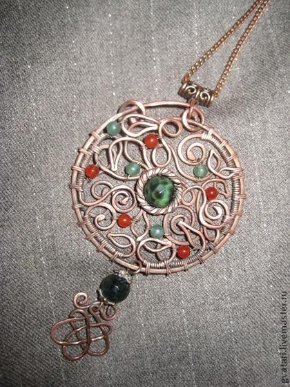 кулон, подвеска, мастер-класс, украшение своими руками, wire wrap, wire work, металл, медь, натуральные камни