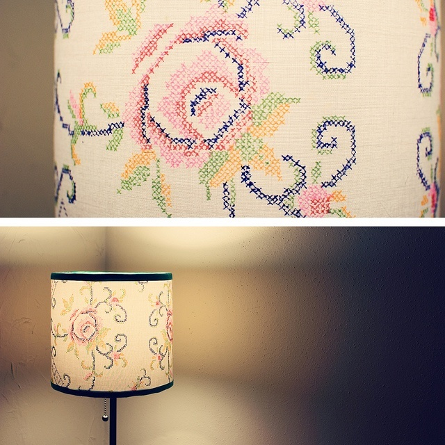 sross-stitched drawing on a lamp