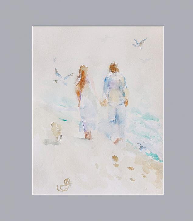 картины о море, подарок влюбленным, море акварелью, нежная акварель