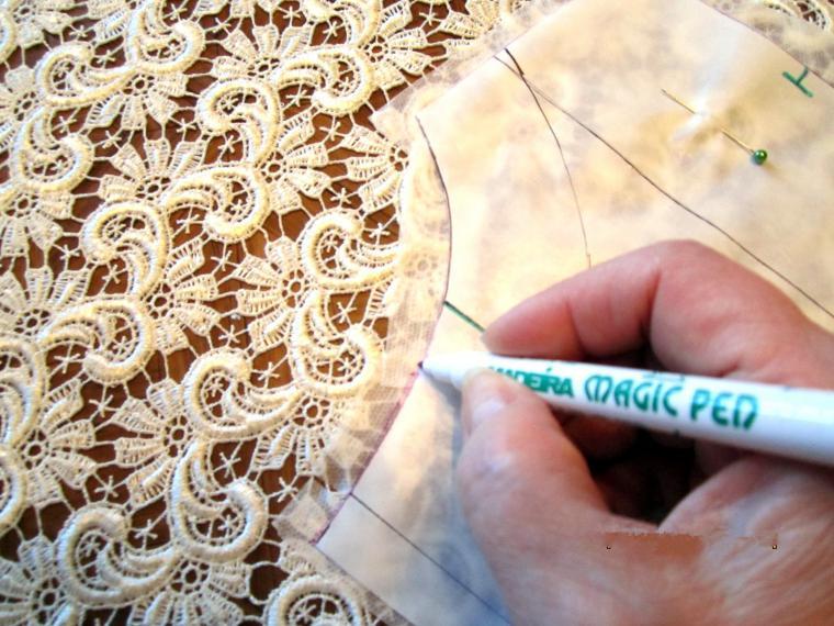 Как сшить ткань с кружевом 111